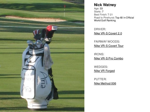 Nick Watney Age: 33 Starts: 7 Best Finish: T-21 Road to Pinehurst: Top 60 in Official World Golf Ranking DRIVER: Nike VR-S...