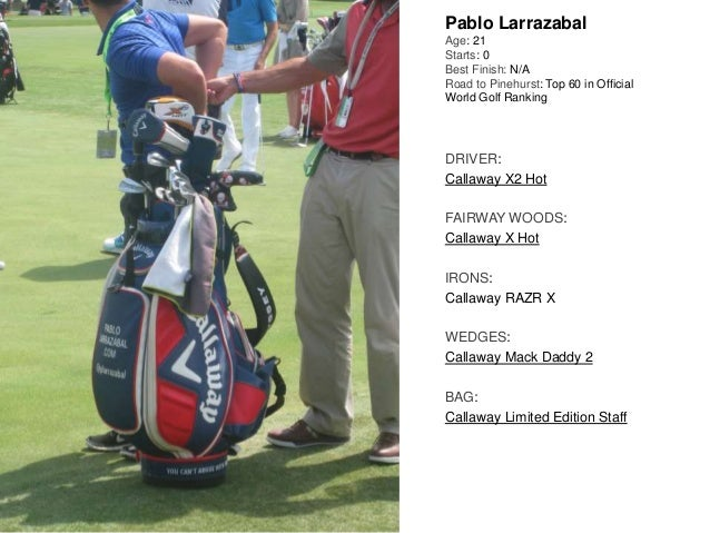 Pablo Larrazabal Age: 21 Starts: 0 Best Finish: N/A Road to Pinehurst: Top 60 in Official World Golf Ranking DRIVER: Calla...