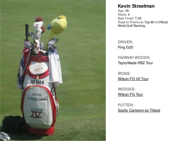 Kevin Streelman Age: 35 Starts: 4 Best Finish: T-53 Road to Pinehurst: Top 60 in Official World Golf Ranking DRIVER: Ping ...