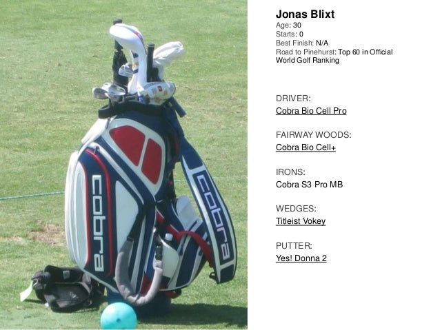 Jonas Blixt Age: 30 Starts: 0 Best Finish: N/A Road to Pinehurst: Top 60 in Official World Golf Ranking DRIVER: Cobra Bio ...