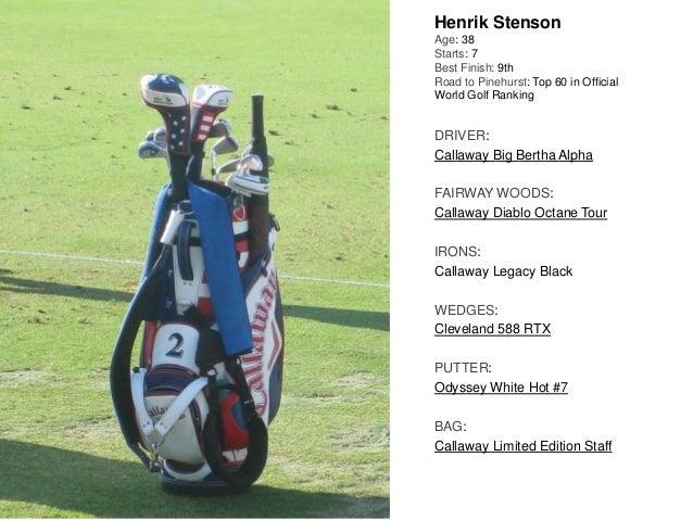 Henrik Stenson Age: 38 Starts: 7 Best Finish: 9th Road to Pinehurst: Top 60 in Official World Golf Ranking DRIVER: Callawa...