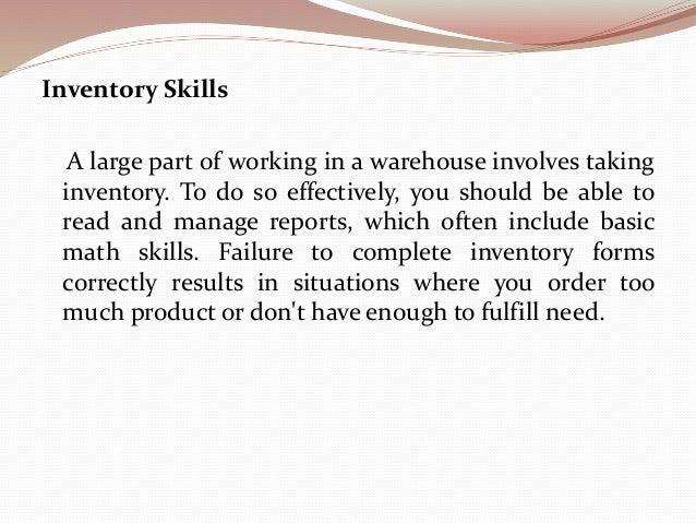 warehouse job skills