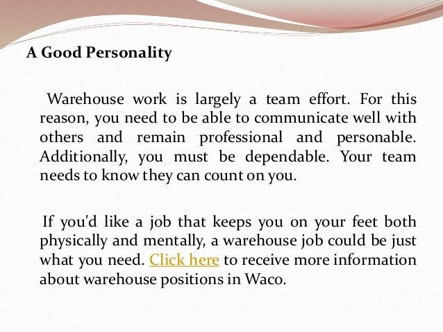 4. A Good Personality Warehouse ...  Warehouse Skills