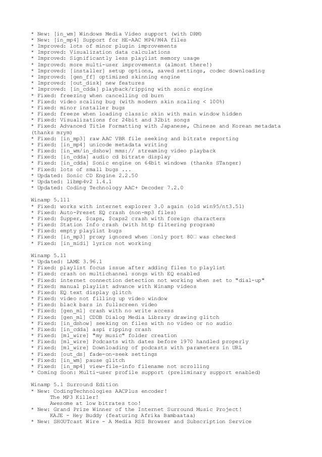 Winamp version history videohelp.
