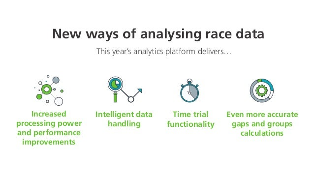 New ways of analysing race data Increased cessing power d performance mprovements ng even more data, even faster This year...