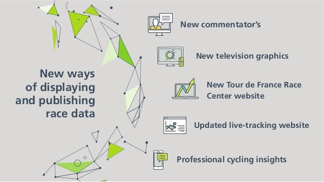 New ways of displaying and publishing race data Professional cycling insights Adding strategy commentary from a cycling jo...