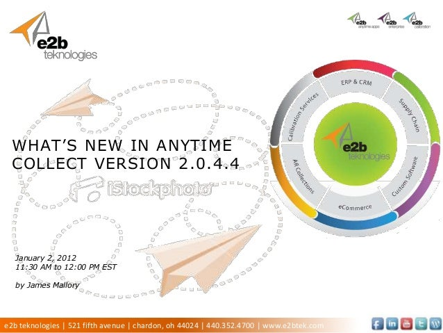 WHAT'S NEW IN ANYTIME COLLECT VERSION 2.0.4.4  January 2, 2012  11:30 AM to 12:00 PM EST  by James Mallorye2b teknologies ...