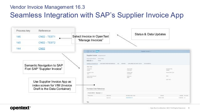 OpenText Confidential. ©2017 All Rights Reserved. 11 Vendor Invoice Management 16.3 Seamless Integration with SAP's Suppli...