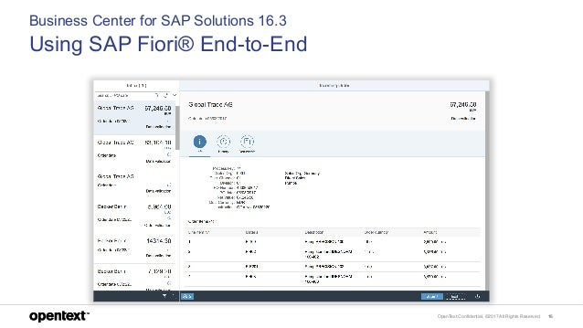 OpenText Confidential. ©2017 All Rights Reserved. 16 Business Center for SAP Solutions 16.3 Using SAP Fiori® End-to-End