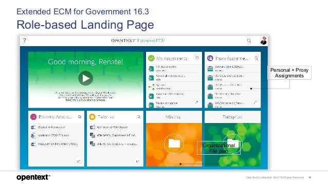 OpenText Confidential. ©2017 All Rights Reserved. 19 Extended ECM for Government 16.3 Role-based Landing Page Personal + P...