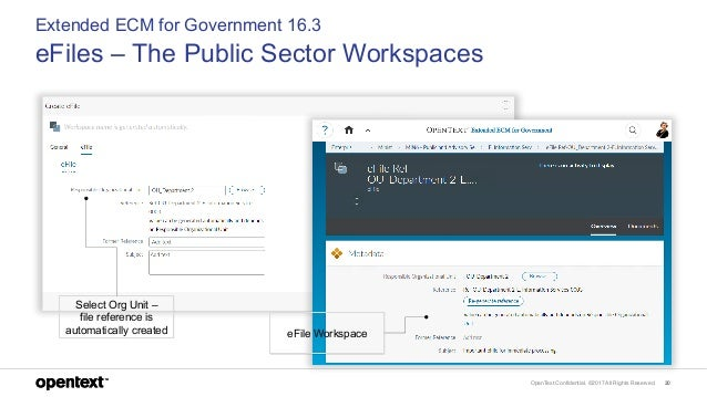 OpenText Confidential. ©2017 All Rights Reserved. 20 Extended ECM for Government 16.3 eFiles – The Public Sector Workspace...