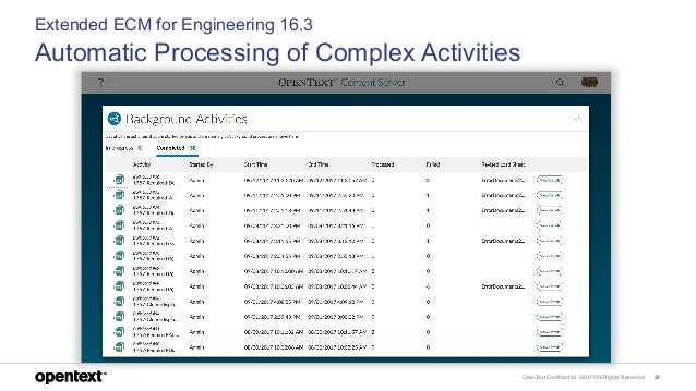 OpenText Confidential. ©2017 All Rights Reserved. 28 Extended ECM for Engineering 16.3 Automatic Processing of Complex Act...