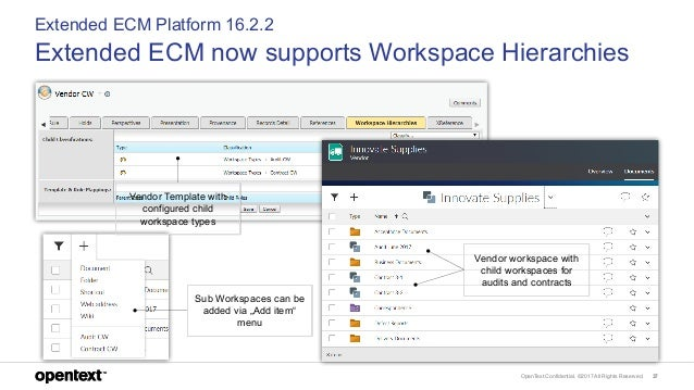 OpenText Confidential. ©2017 All Rights Reserved. 37 Extended ECM Platform 16.2.2 Extended ECM now supports Workspace Hier...