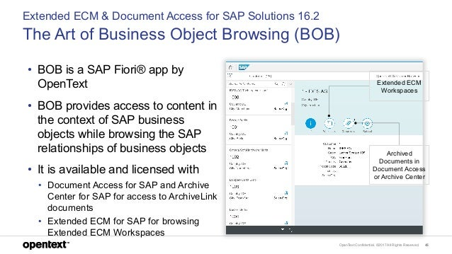 OpenText Confidential. ©2017 All Rights Reserved. 45 • BOB is a SAP Fiori® app by OpenText • BOB provides access to conten...