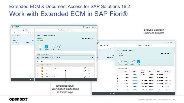 OpenText Confidential. ©2017 All Rights Reserved. 46 Extended ECM & Document Access for SAP Solutions 16.2 Work with Exten...