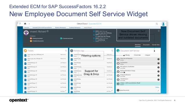 OpenText Confidential. ©2017 All Rights Reserved. 58 Extended ECM for SAP SuccessFactors 16.2.2 New Employee Document Self...