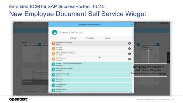 OpenText Confidential. ©2017 All Rights Reserved. 59 Extended ECM for SAP SuccessFactors 16.2.2 New Employee Document Self...
