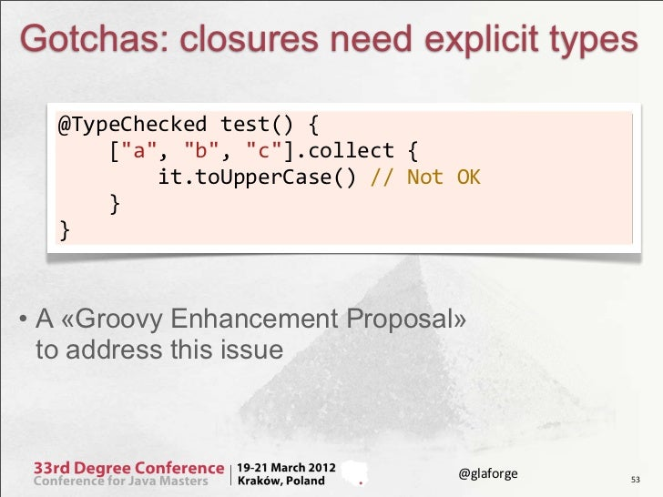 """Gotchas: closures need explicit types  @TypeChecked test() {      [""""a"""", """"b"""", """"c""""].collect {      ..."""