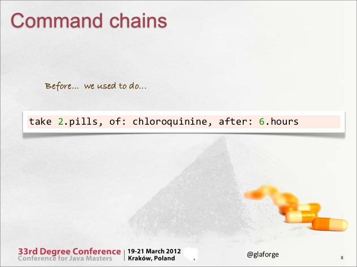 Command chains    Before... we used to do... take 2.pills, of: chloroquinine, after: 6.hours                    ...