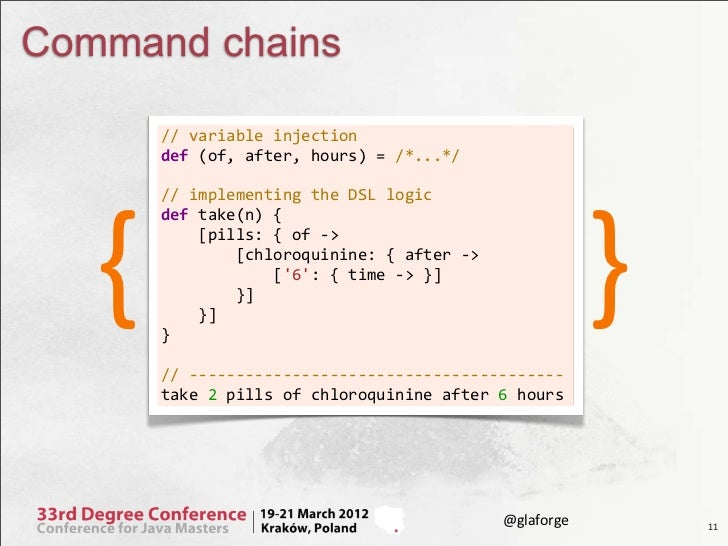 Command chains       // variable injection       def (of, after, hours) = /*...*/           {             ...