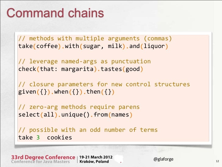 Command chains // methods with multiple arguments (commas) take coffee  with sugar, milk  and li...