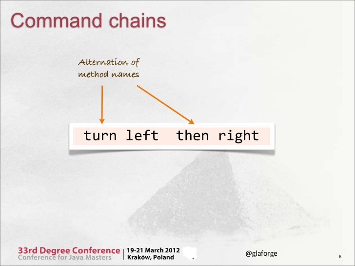 Command chains      Alternation of      method names      turn left  then right                               ...