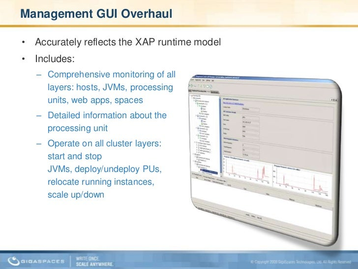 Management GUI Overhaul <br />Accurately reflects the XAP runtime model<br />Includes: <br /><ul><li>Comprehensive monitor...