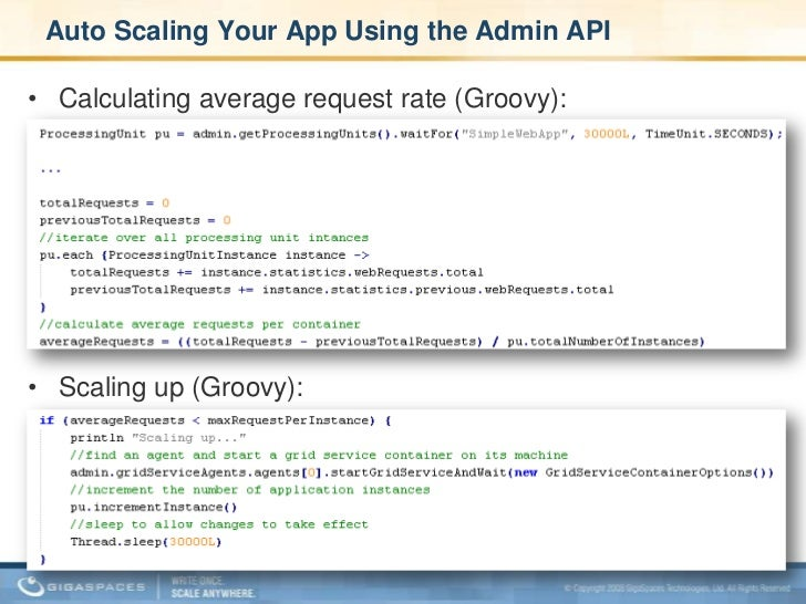Administration & Monitoring API – Samples <br />Monitor stats with Groovy closures: <br />