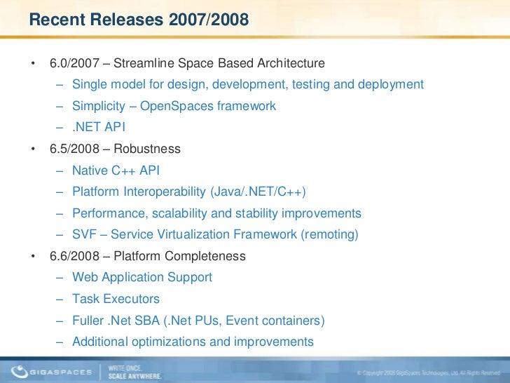 Recent Releases 2007/2008<br />6.0/2007 – Streamline Space Based Architecture<br />Single model for design, development, t...