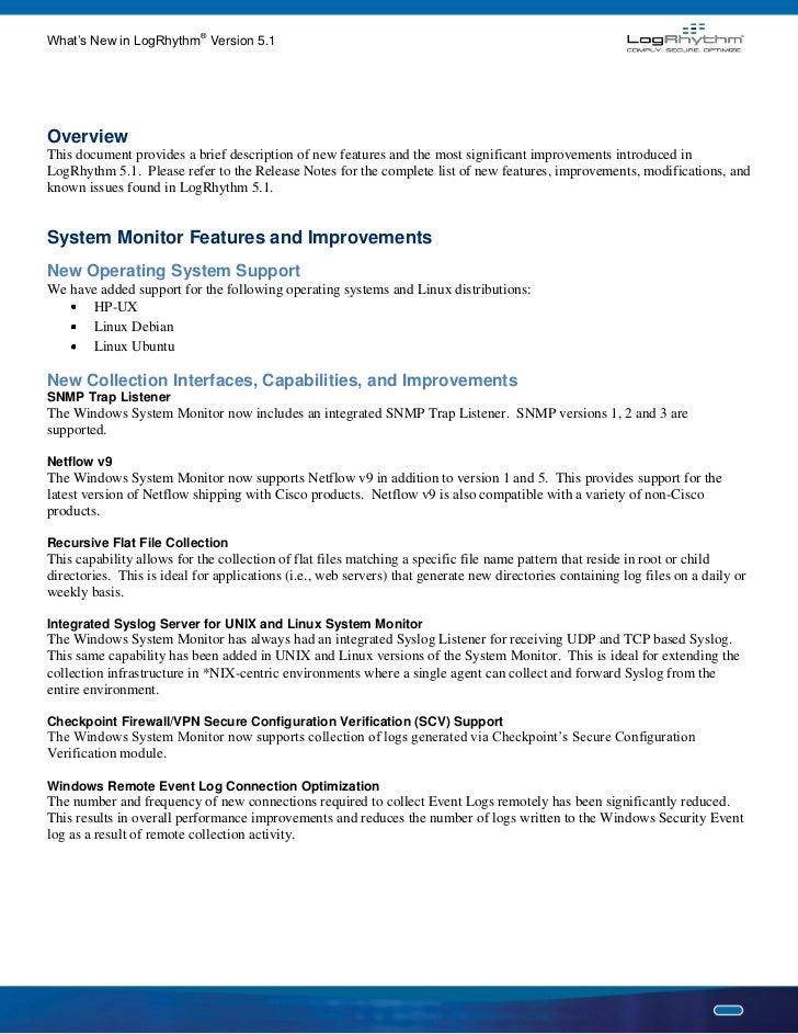 What's New Logrhythm 5 1 Data Sheet