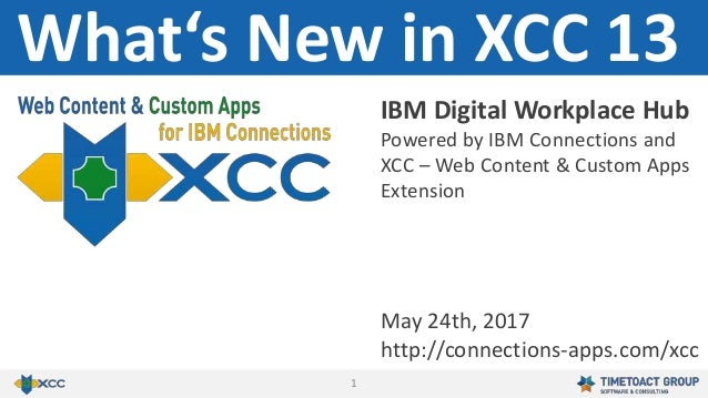 1 What's New in XCC 13 May 24th, 2017 http://connections-apps.com/xcc IBM Digital Workplace Hub Powered by IBM Connections...