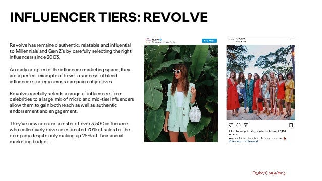 INFLUENCER TIERS: REVOLVE Revolve has remained authentic, relatable and influential to Millennials and Gen Z's by carefull...