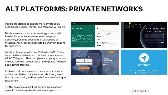 ALT PLATFORMS: PRIVATE NETWORKS People are starting to explore more private social networks like Minds, MeWe, Telegram and...