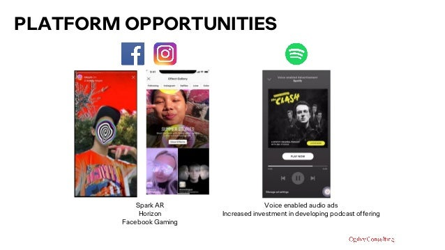 PLATFORM OPPORTUNITIES Spark AR Horizon Facebook Gaming Voice enabled audio ads Increased investment in developing podcast...