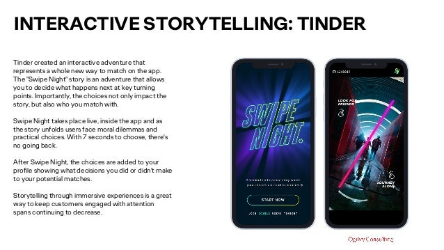 INTERACTIVE STORYTELLING: TINDER Tinder created an interactive adventure that represents a whole new way to match on the a...