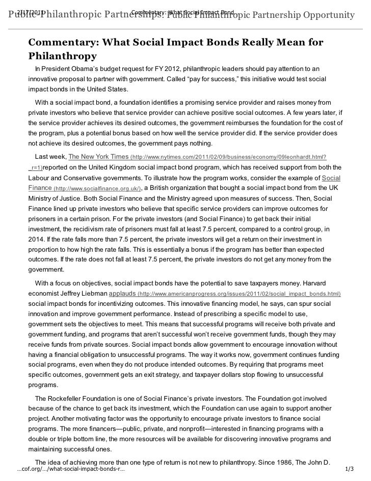 2/17/2011                Commentary: What Social Impact Bond…Public-Philanthropic Partnerships: Public Philanthropic Partn...