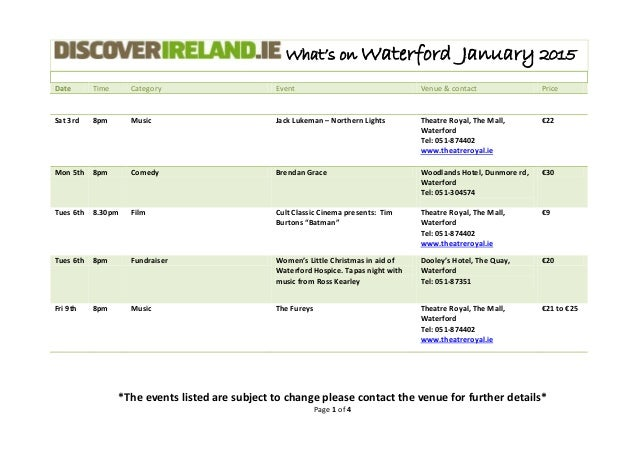 What's on Waterford January 2015 Date Time Category Event Venue & contact Price *The events listed are subject to change p...