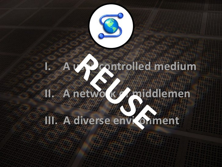 A user-controlledmedium<br />I.<br />REUSE<br />A network of middlemen<br />II.<br />A diverseenvironment<br />III.<br />