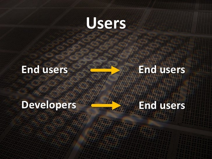 Users<br />End users<br />End users<br />Developers<br />End users<br />