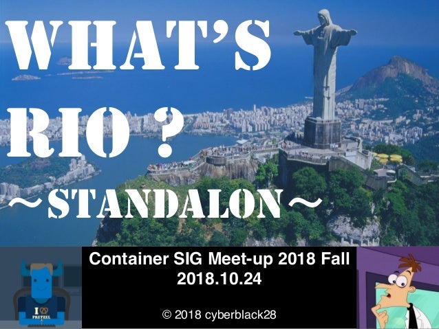 Container SIG Meet-up 2018 Fall 2018.10.24 © 2018 cyberblack28 WHAT'S RIO ? STANDALON