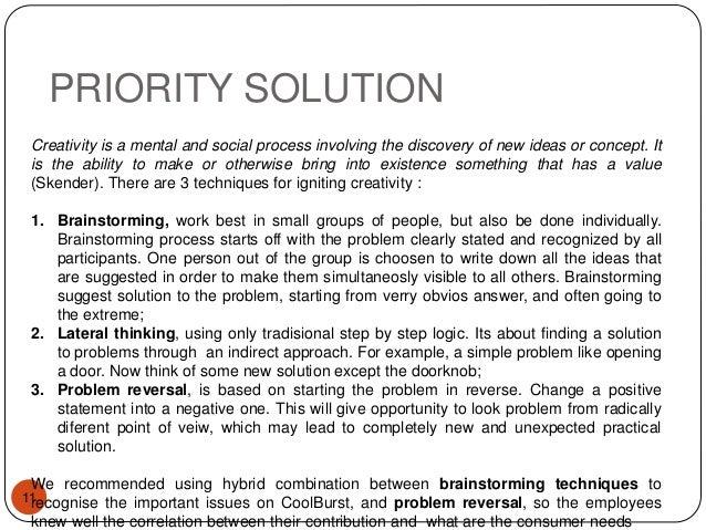 Whats stifling the creativity at coolburst essay