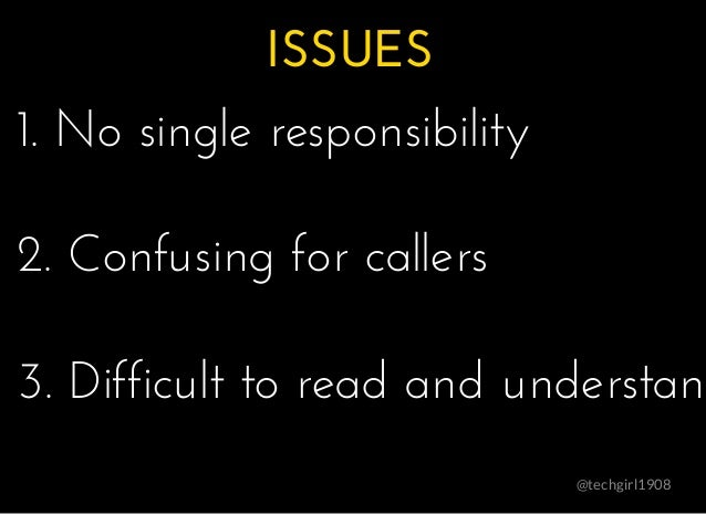 ISSUESISSUES @techgirl1908 1. No single responsibility1. No single responsibility 2. Confusing for callers2. Confusing for...