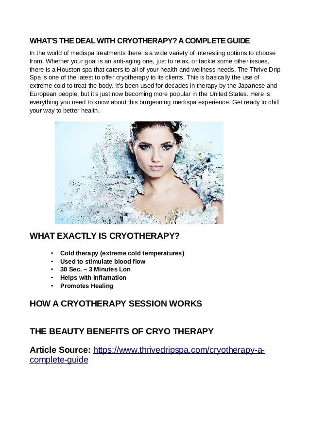 WHAT'S THE DEAL WITH CRYOTHERAPY?ACOMPLETE GUIDE In the world of medispa treatments there is a wide variety of interesting...