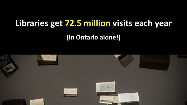 Libraries get 72.5 million visits each year (In Ontario alone!)