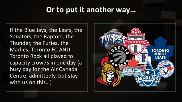 Or to put it another way… If the Blue Jays, the Leafs, the Senators, the Raptors, the Thunder, the Furies, the Marlies, To...