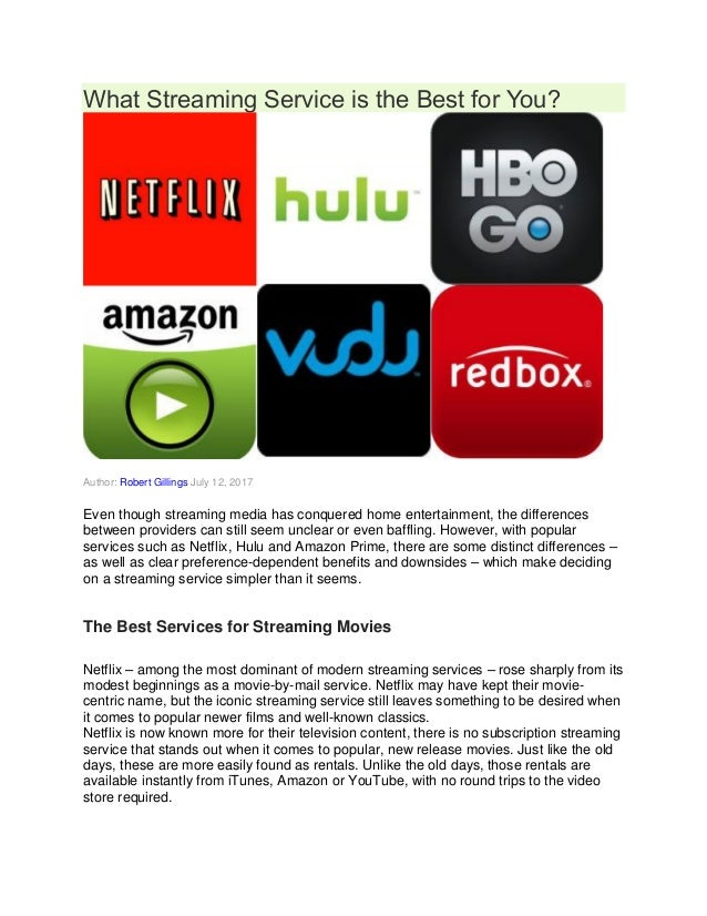 What Streaming Service is the Best for You? Author: Robert Gillings July 12, 2017 Even though streaming media has conquere...