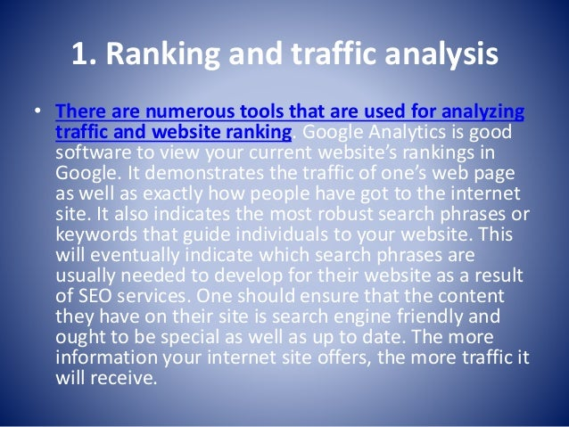 2. High quality backlinks • Having good quality back links for your site is essential within search engine optimisation. T...