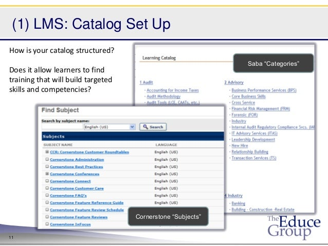"(1) LMS: Catalog Set UpHow is your catalog structured?                                                             Saba ""C..."