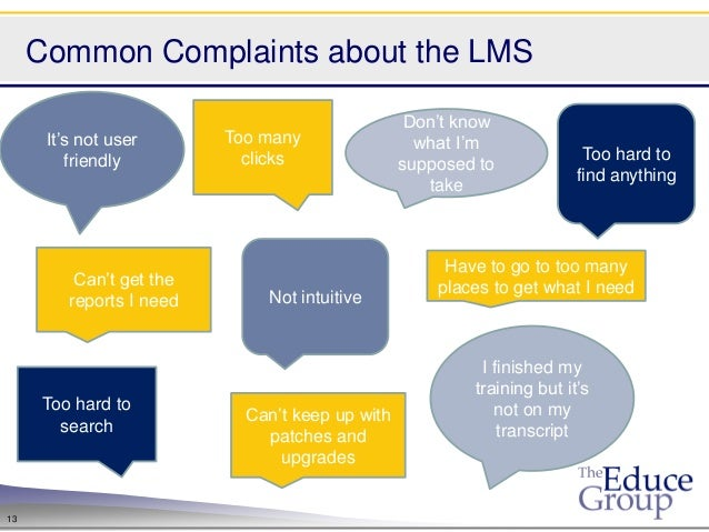Common Complaints about the LMS                                                  Don't know      It's not user       Too m...