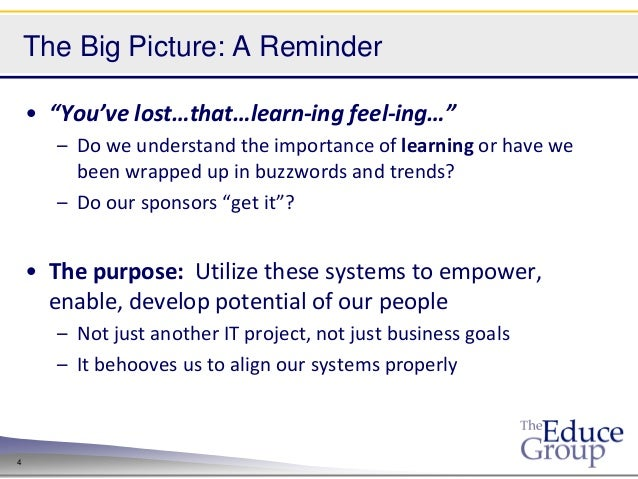 """The Big Picture: A Reminder    • """"You've lost…that…learn-ing feel-ing…""""      – Do we understand the importance of learning..."""